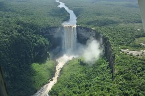 an image of kaieteur falls, taken from the helicopter on one of Bushmasters expeditions