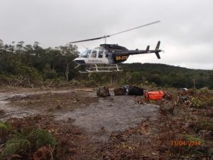 an image of a helicopter landing during an expedition