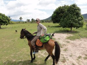an image of a woman on a horse whilst taking part in our Ranch venture course