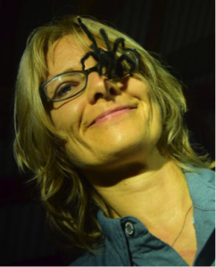 A picture of a tarantula climbing on Chris Hormann's face