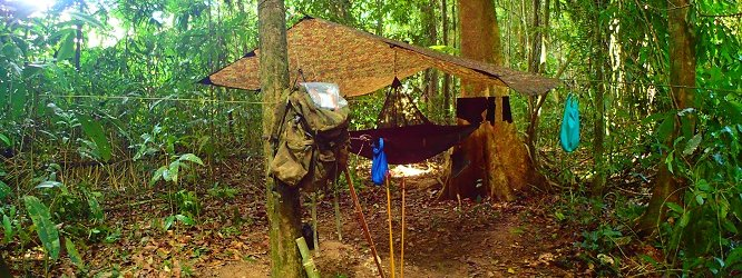 A hammock assembled under the canopy during a jungle survival course in Guyana