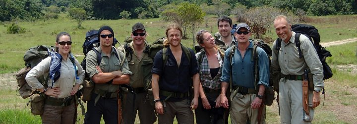 An image of a Bushmasters jungle survival group posing with their backpacks