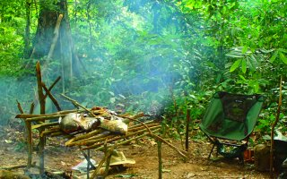 Picture of a jungle clearing with fish cooking on an open fire